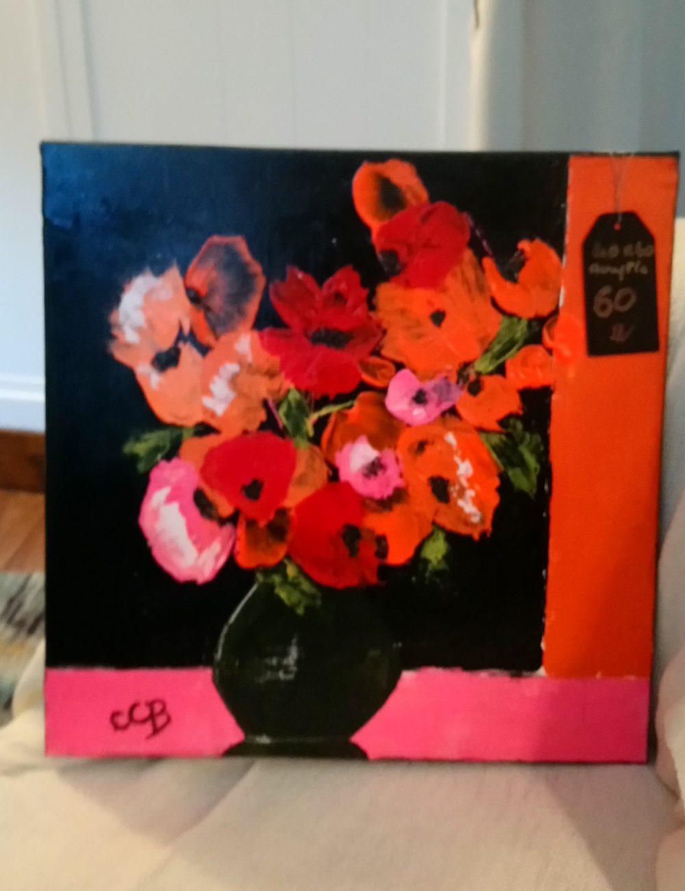 Bouquet rose orangé sur fond noir